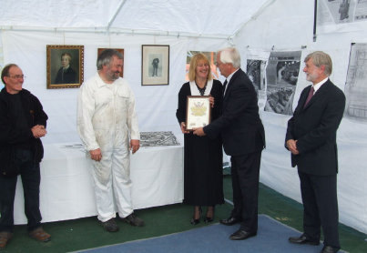 Presentation of Heritage Award Certificate to Hazel Evans, 10th Oct 2010