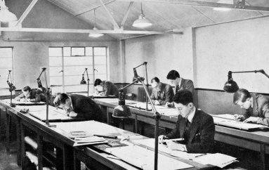"""The """"Junior"""" Drawing Office for teaching apprentices the basic art of engineering Draftsmanship ( c1958)"""